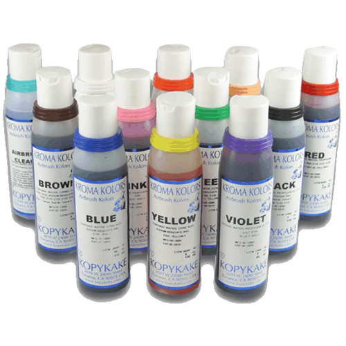Kroma Kolors Airbrush Colors 4 oz. Set - 11 Colors plus 1 Airbrush Cleaner