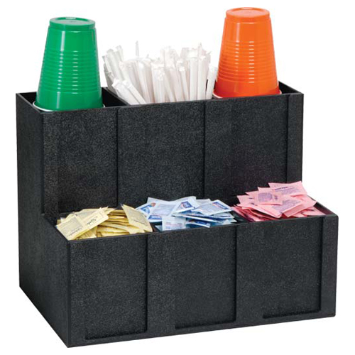 Dispense-Rite MCD-6BT BLK Cup Lid Straw Condiment Organizer, 6-Section, Polystyrene, Black MCD-6BT BLK