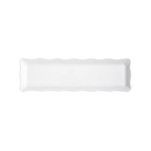 """G. E. T. Melamine Display Tray Scallop Edged, Bake & Brew Series, 19"""" x 5.25"""" - White ML-112-W"""