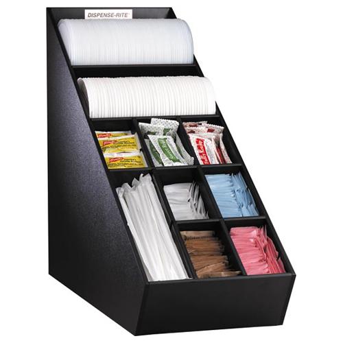 Dispense-Rite NLO-1B Llid, Straw & Condiment Countertop Organizer - Narrow NLO-1B