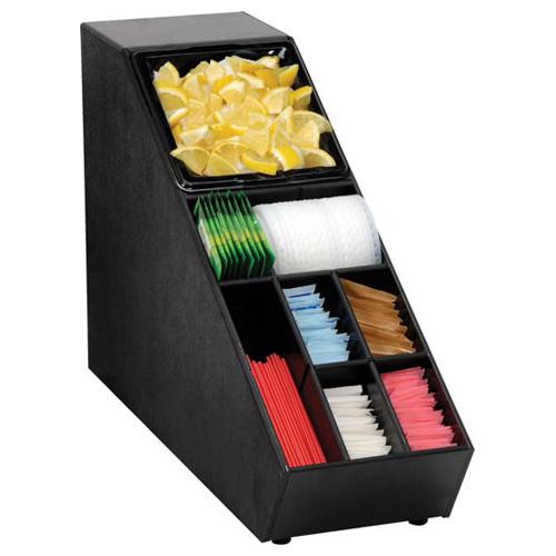 Dispense-Rite NLO-SUB-1B BLK Narrow Lid Straw Condiment Organizer, Polystyrene, Black NLO-SUB-1B BLK
