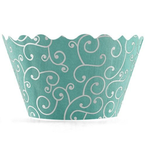 Bella Cupcake Couture Olivia Sea Blue Wrapper - 12 Pieces