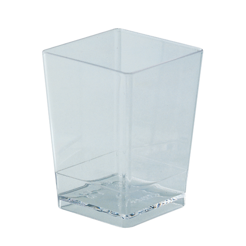 "Square Dessert Cups Clear Plastic, 2 1/8"" x 2 3/4"" H. Capacity 100 ml. (3.4 oz)"