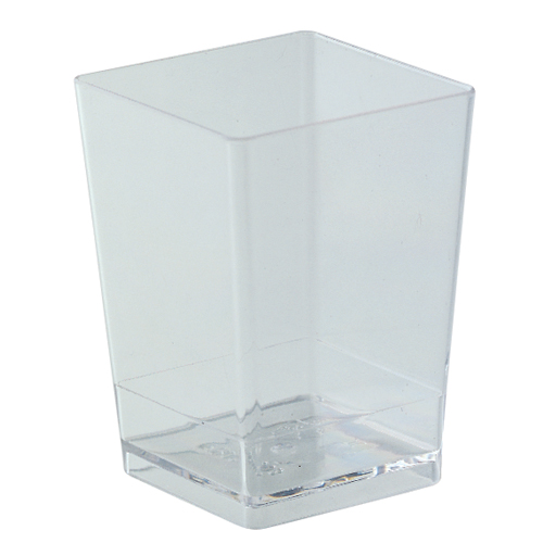 "Square Dessert Cups Clear Plastic, 2 1/8"" x 3 1/8"" H. Capacity 150 ml. (5 oz)"