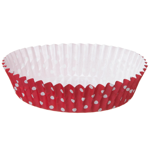 Welcome Home Brands Red with White Dots Ruffled Mini Paper Baking Pan - Case