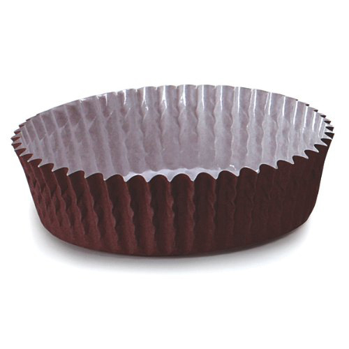 "Welcome Home Brands Disposable Brown Ruffled Paper Baking Cup - 3.5"" Diameter x 0.8"" High"