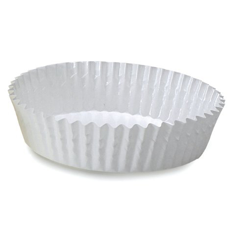 "Welcome Home Brands Disposable Baker's White Ruffled Paper Baking Cup - 3.9"" Diameter x 1.2"" High"