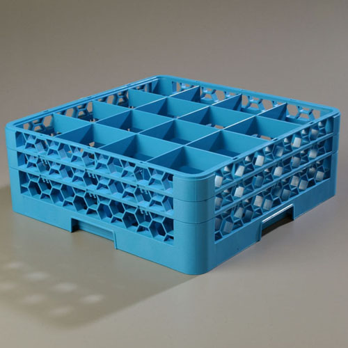 Carlisle OptiClean 16-Compartment Glass Dish Rack with 2 Extenders RG16-214