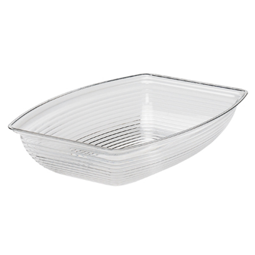 "Cambro RSB1419CW135 Camwear Rectangular Ribbed Bowl 14-1/4"" x 19-3/8"" Clear - Black RSB1419CW110"
