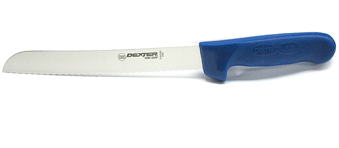 "Dexter Russell 13313C 8"" Scalloped Bread Knife Sani-Safe, Blue Handle 13313C"
