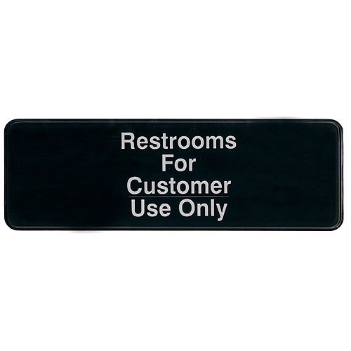 "Update International Sign - Restrooms For Customer Use Only - 3"" x 9"