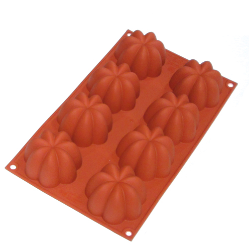 "Silikomart Red Silicone Bake Mold Charlotte 3.4 Oz, 2.75"" x 1.61"" H, 8 Cavities SF154"