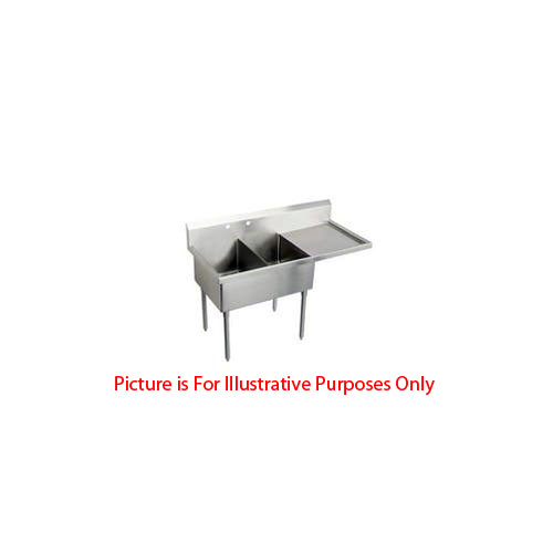 Two Compartment NSF Commercial Sink with Right Drainboard  - Bowl Size  20 x 20
