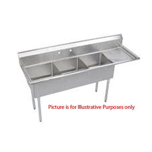 Three Compartment NSF Commercial Sink With Right Drainboard  - Bowl 20 x 20