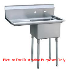 One Compartment Nsf Comercial Sink Left Drainboard Bowl Product Photo
