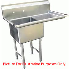 One Compartment NSF Commercial Sink with Right Drainboard  - Bowl Size  20 x 20