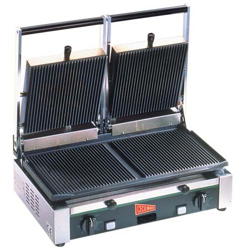 Cecilware TSG2G Panini/Sandwich Grill, Double Grooved TSG2G