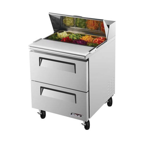 Turbo Air TST-28SD-D2 Super Deluxe 2 Drawer Sandwich Salad Table 7 Cu. Ft. TST-28SD-D2