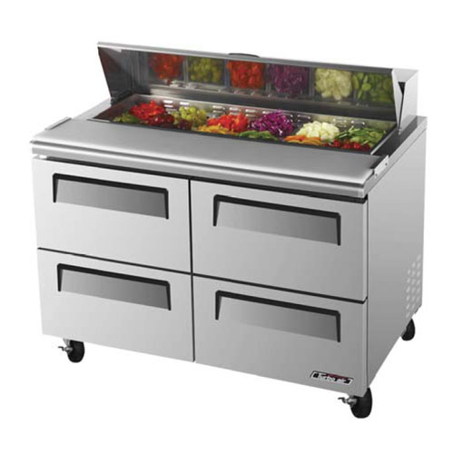 Turbo Air TST-48SD-D4 Super Deluxe 4 Drawer Sandwich Salad Table 12 Cu. Ft.