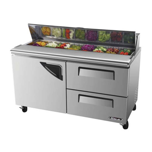 Turbo Air TST-60SD-D2 Super Deluxe 2 Drawer Sandwich Salad Table 16 Cu. Ft.