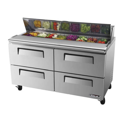 Turbo Air TST-60SD-D4 Super Deluxe 4 Drawer Sandwich Salad Table 16 Cu. Ft.