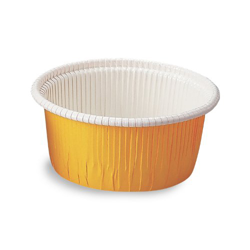 "Welcome Home Brands Yellow Curled Disposable Paper Baking Cup - 2.4 Oz Capacity, 2"" Dia. x 1.2"" High"