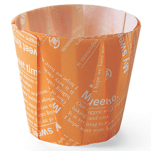 "Welcome Home Brands Disposable Orange Pleated Paper Baking Cup - 3.2 Oz Capacity, 1.6"" Dia. x 2.2"" High MC92"