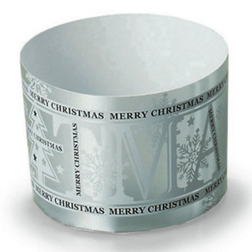 "Welcome Home Brands Silver Christmas Disposable Paper Baking Cup - 3.4 Oz Capacity, 2.2"" Dia. x 1.6"" High"