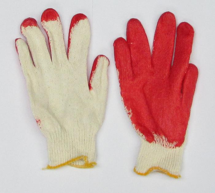 Polyester Knit Gloves Finger Red Coated {10 PR.}