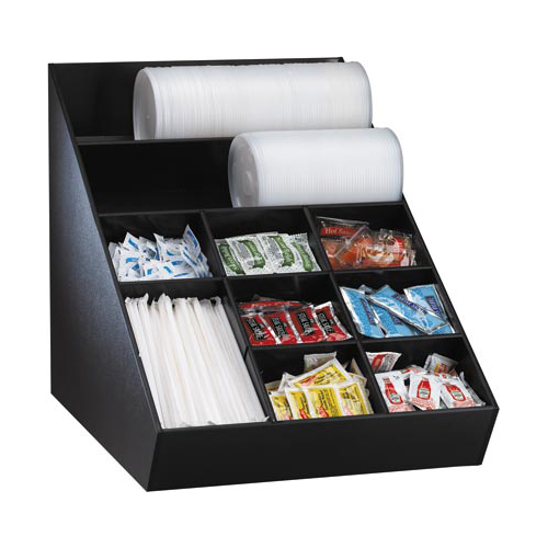 Dispense-Rite WLO-1B Lid, Straw & Condiment Countertop Organizer - Wide WLO-1B
