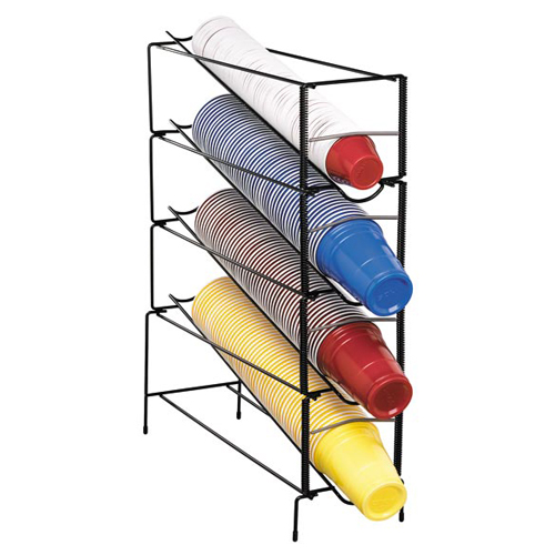 Dispense-Rite WR-CT-4 Vertical Wire Rack Cup Dispenser - 4 Section WR-CT-4