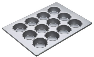 "Aluminized Steel Oversized Muffin Pan Glazed 12 Cups. Cup Size 3-1/4"" Dia. 1-1/4"" Deep"