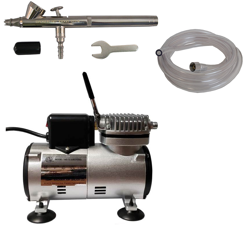 Badger Air-Brush Co. Bake Air 80-8N Compressor, 100-GB Airbrush and 6-Foot Clear Hose CDS-180
