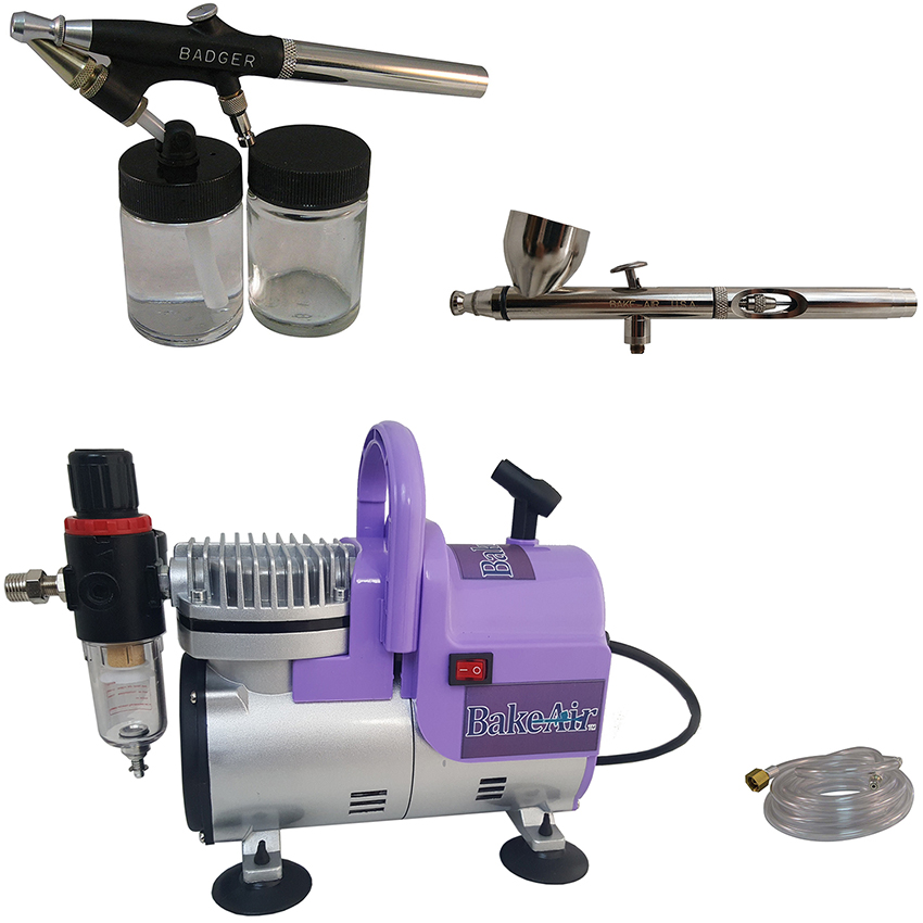 Badger Air-Brush Co. Bake Air TC908P Compressor, Omni 4000 Airbrush, 350MT Airbrush and 6-Ft. Clear Hose CAS-5258