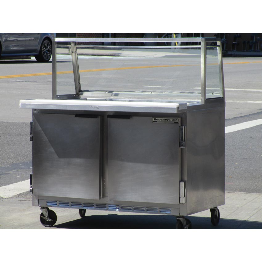 """Beverage Air SP48-18M Salad Bar Prep Table 48-1/4""""W x 30""""D With Sneeze Guard, Great Condition SP48-18M"""