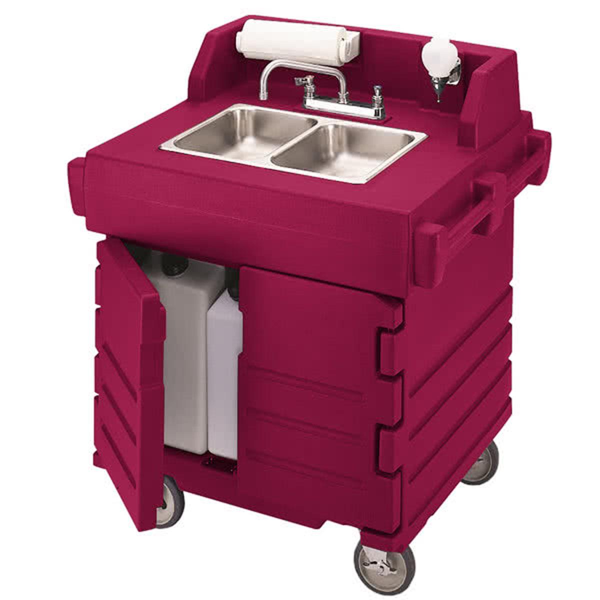 Cambro Ksc402158 Camkiosk Hand Sink Cart Hot Red Food