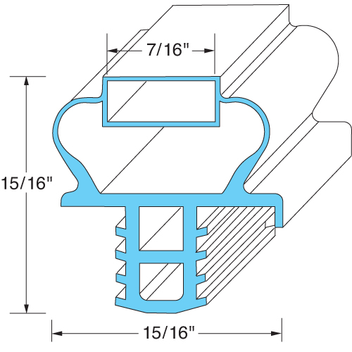 "Delfield OEM # 1701190, Magnetic Drawer Gasket - 10 7/8"" x 16 7/8"" 1701190"