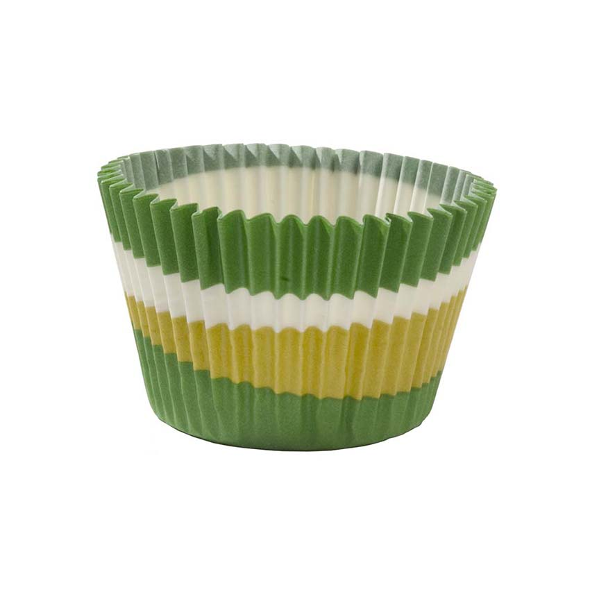 "Novacart Green Circle Baking Cup 2"" Bottom Diameter x 1-3/8"" High - Case 700175"