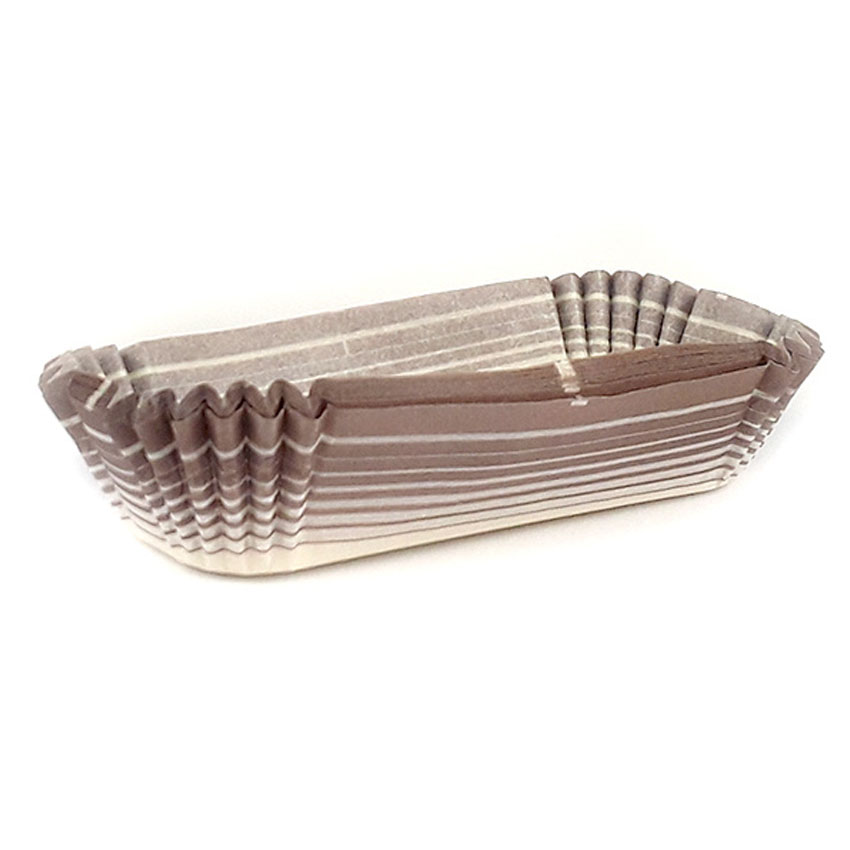 """Novacart Rectangle Paper Cup, Brown-Patterned Outside - 3-5/8"""" X 1-1/4"""" Base, 1.25"""" High 24 Brown"""