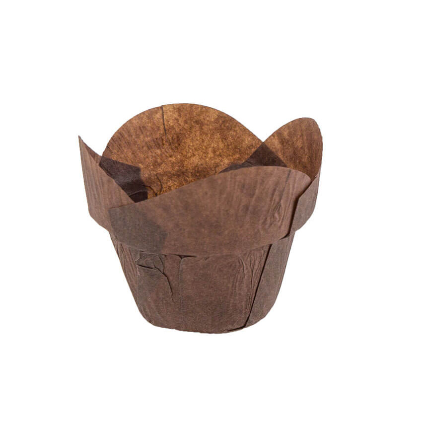 "Novacart Round Tip Step Tulip Brown Paper Baking Cup, 2"" Bottom x 2-7/8"" High Point - 2 x 2-7/8 160x50 Brown Step Round"