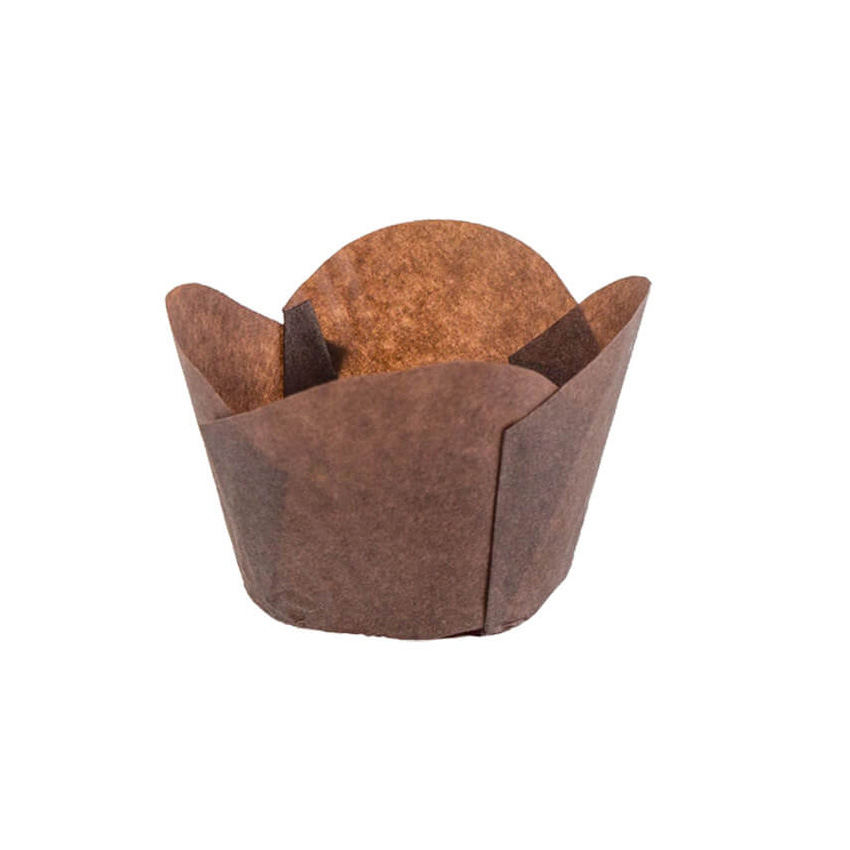 "Novacart Round Tip Tulip Brown Paper Baking Cup, 2"" Bottom x 2"" High Point - 2 x 2 120x50 Brown Round"