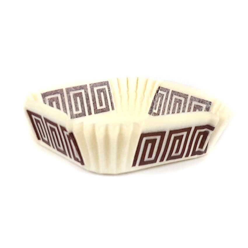 "Novacart Square Paper Cup, Greek Key Design 2-5/16"" x 2-5/16"" Base, 13/16"" High - Case of 1000 700143"