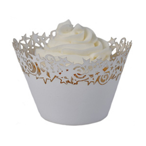 Paper Orchid White Stars Cupcake Wrapper, 50Pack CWR-07779-0115