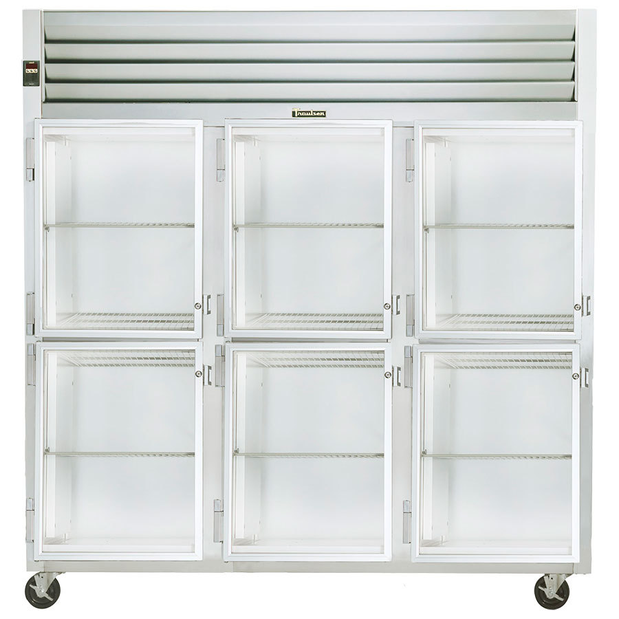 Traulsen Section Glass Half Door Reach Refrigerator Left Hinged Doors Product Photo