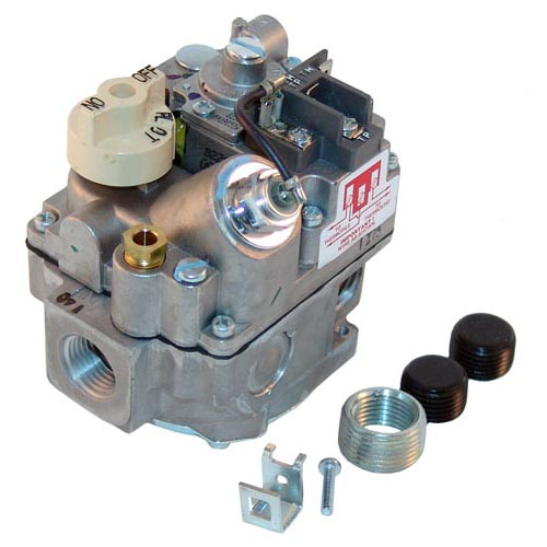 "Type BMVR Gas Safety Valve; Natural Gas; 1/2"" Gas In; 3/4"" Gas Out; (2) 1/2"" Gas Out (Side); Millivolt Actuator 54-1009"