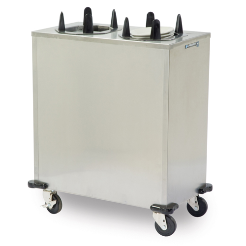 "Lakeside Mobile Heated Enclosed-Cabinet Dish Dispenser - 2 Stack, Oval - Plate Size: 6-3/4"" x 9-3/4"" to 7-3/4"" x 10-1/2"" V6210"