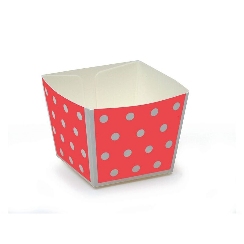 Welcome Home Brands Modern Cube Paper Baking Cup, Coral with White Dots