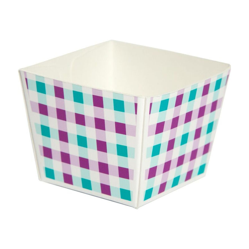 Welcome Brands Modern Cube Paper Baking Cup Turquoise Gingham Capa Product Photo