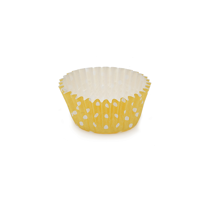 Welcome Home Brands Polka Dot Yellow Ruffled Cupcake Cup PTC05030PDY