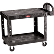 Rubbermaid FG452500BLA Flat-Shelf Utility Cart, Black